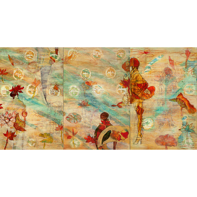 Flower People triptych 44 X 84 by Donna Johnson