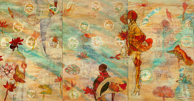 Flower People 44 X 84 by Donna Johnson