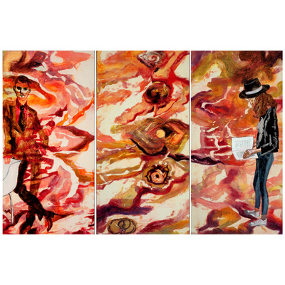 The Space Between Us triptych 48 X 72 by Donna Johnson
