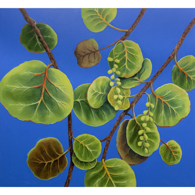 Sea Grapes on Blue 44 X 48 by Charles H. Reinike III